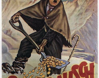 """Small Giclee Prints up to 8X10 or Note Card - """"The Gold Rush"""" - Charlie Chaplin - Movie Poster (German Release)"""
