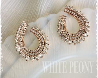 """Greek Goddess Bridal Crystal Rose Gold Laurel Leaf Earrings-AAA Cubic Zirconia Vintage Style Grecian Art Deco Leaf Studs Earrings-""""ARTEMIS"""""""