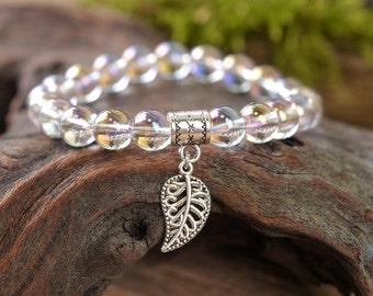 Quartz bracelet, leaf bracelet, gemstone bracelet, stone bracelet, shiny bracelet, beaded bracelet, elegant bracelet, nature bracelet