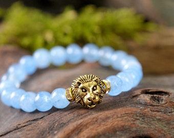 Agate bracelet, lion bracelet, gemstone bracelet, stone bracelet, gold bracelet, beaded bracelet, blue agate bracelet, blue bracelet