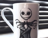 Nightmare Before Christmas Jack Skellington Hand Painted Disney Tim Burton Mug