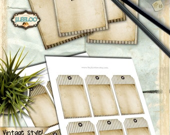 Blank STRIPED TAGS - Digital collage sheet editable writable label - steampunk scrap luggage tag brown sepia instant download - tl171