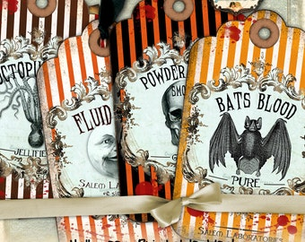 APOTHECARY TAGS printable label - poison gift tag greeting labels Halloween instant download printable image - digital collage sheet - tl160