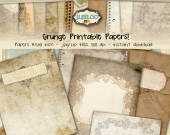 GRUNGE PAPERS 8.5x11 inch Digital collage sheets - papers pack digital vintage scrapbook digital graphic download printable diary - pp309