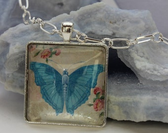 Blue Butterfly Glass Pendant, Spring Time Silver Necklace, Butterfly and Flower Pendant Necklace, Spring Glass Pendant, Vintage Butterfly