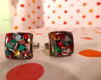 Glitter Sparkle VINTAGE Lucite Cufflinks FANTASTIC Colorful Christmas Holiday Party
