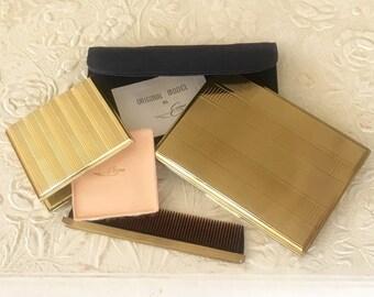 Vintage Evans Cigarette Case Business Card Case Gold Tone Herringbone