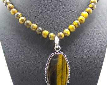 Handmade Tiger Eye beaded necklace with Tiger Eye pendant.