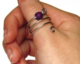 Wire wrapped ring with purple bead, Bead ring, Adjustable ring, Stainless steel ring, Wrap around thumb ring, Wire jewerly
