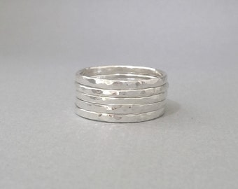 Stacing Ring. Sterling Silver Ring set of 5 thin stackable rings.