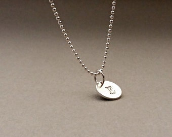 Personalized Necklace Sterling Silver initial stamped disc.