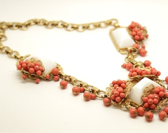 SALE! Vintage Miriam Haskell Style Necklace Glass Brass circa 1950s