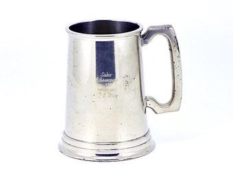 Vintage Birks Pewter Glass-bottomed Beer Stein / Glass-bottomed Tankard / Glass-bottomed Beer Stein / Beer Tankard / Birks Pewter Tankard