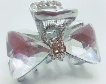 New Small Silver Crystal Clear Austrian Crystal CZ & Rhinestone  1.5'' Hair Claw