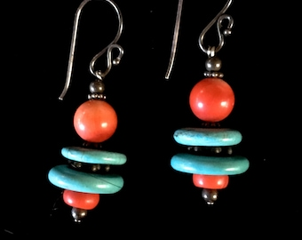 Turquoise & Coral Bead Ear Rings