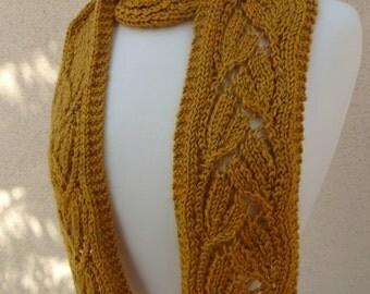 Knit Yellow Scarf, Knit Dayflower Scarf, Knit Flower Scarf, Lacy Yellow Scarf, Daylily Scarf, Knit Tulip Scarf