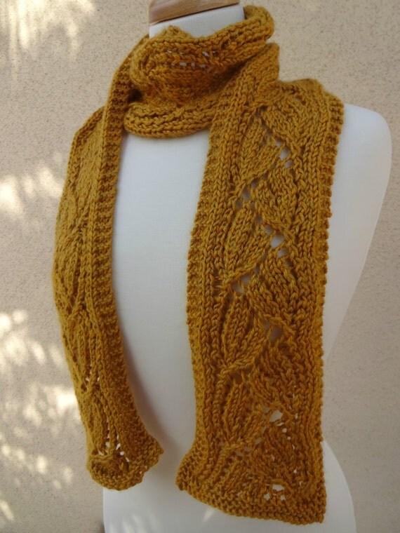 Knit Yellow Scarf Knit Dayflower Scarf Knit Flower Scarf