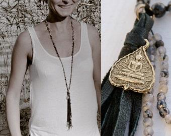 BODHI LEAF MALA long necklace // Buddha charm / leather tassel / agate necklace // Agate Mala // Buddhist mala Yoga Necklace