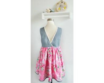 Size 6 Little Girls Boutique Dress –  Girls Floral Print Dress – Girls size 6 Sleeveless Dress – Girls Dress – Special Occasion Girls Dress