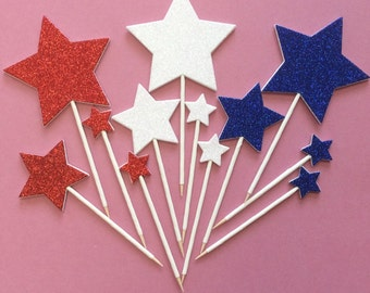 Red, white and blue glitter stars cake toppers - July 4th celebrations - food picks - patriotic stars for cupcakes - Independence Day decor