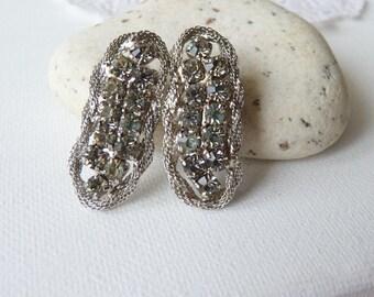 Silver Rhinestone Clip One Earrings Silver Crystal Earrings Retro Jewelry Rhinestone Silver Tone Earrings, Costume Jewelry, Retro Earrings