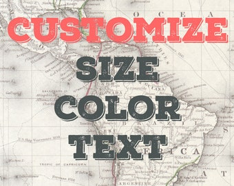 Map / Digital Map / Map Print / Letters / Bunting Customization