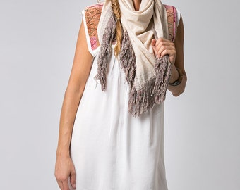 Bohemian Fringed Scarf, Cream, Tassel Scarf, Silk Cotton Scarf, Square Scarf, Fashion Scarf, Gift For Women
