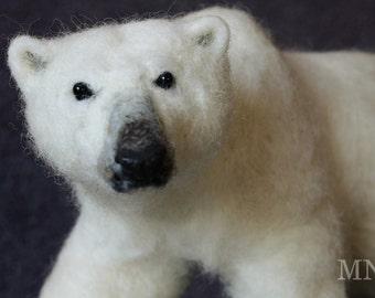 Needle felted polar bear, soft bear sculpture, needle felting bear