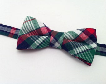 Madras Bow Tie - Navy and Green Plaid Bow Tie Adults, Mens Bowtie, Bowties, Bow Ties for Men (1680)