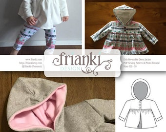 Children's Reversible Dress Jacket with Hood - PDF Sewing Pattern and Photo Tutorial - Sizes 000 to 10 - Baby Toddler Easy Pattern