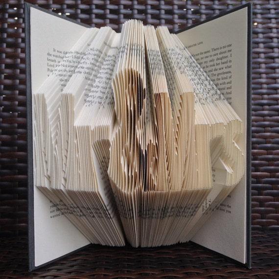 Book Art Wedding Gift : Mr & MrsWedding GiftFolded Book ArtBook SculpturePaper ...