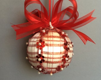 White with Red Translucent Ribbon Wrapped Sequin Christmas Ornament/Handmade