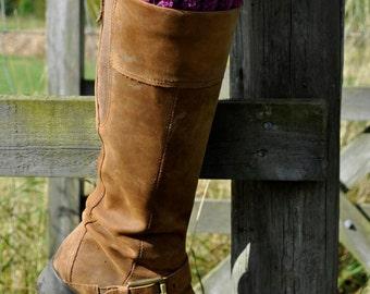 Crochet Purple Boot Cuffs