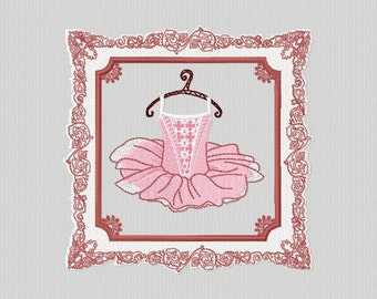 Embroidery for machine embroidery of a format 4 x 4 and 5 x 7 frame