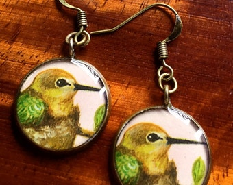 Hummingbird in a Nest Miniature Watercolor Painting; Nickel Free, Lead Free Earrings