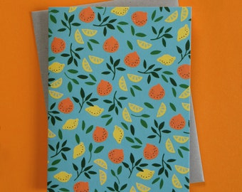 Citrus Pattern Blank Card