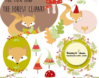 Fox clipart, forest clipart, autumn clipart, woodland clipart