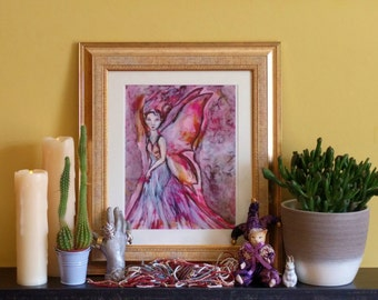 Pink fairy art print | fine art fairy painting digital print | fantasy art print on watercolour paper | faery art | fairy garden fantasy art