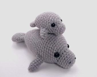 PATTERN: Crochet mama and baby manatee pattern - amigurumi manatee pattern - crocheted manatee - baby manatee pattern - PDF crochet pattern