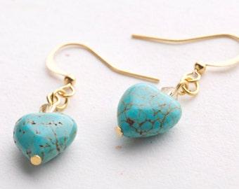 Turquoise Earrings, Heart Turquoise Earrings.