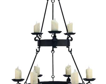 Wrought Iron Tuscan Scroll Two Tier Chandelier, Handmade Lighting, Ceiling Light, Light Fixture, Large Lighting, Interior Design