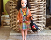 Special custom order for lovely Zarina - Retro style Donegal tweed kilt with matching scarf for Sindy, Barbie, Tressy, doll