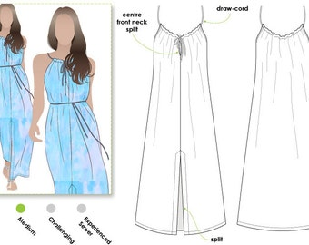 Holiday Maxi Cover Up / Sizes 28 & 30 / Women's Dress Downloadable PDF Sewing Pattern by Style Arc / DIY clothing / Sewing Projects