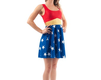 Wonder Woman Flirt Dress, Bright Printed Super Hero Pattern Fit and Flare Spandex Skater Dress