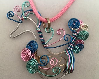 Multicolor Wire Wrapped Swan With Rose Quartz Stone Necklace