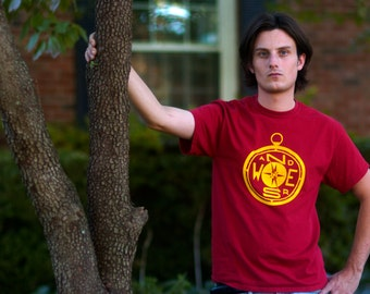 WANDERS COMPASS Hand-Screen Printed 100% Cotton T-Shirt in Maroon & Yellow