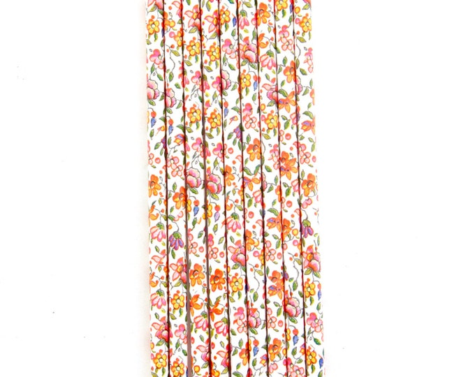 CLOSEOUT SALE Orange and Pink Floral Straws 15 Count