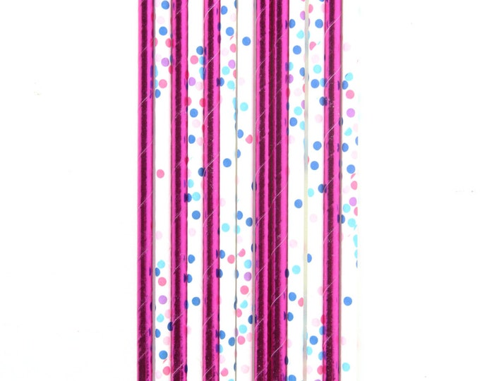 Bright Pink Foil and White Polka Dot Straw With Gold Flag, Paper Straw, Gold Straw Flag, Baby Shower or Wedding Straw, Decorative Straw