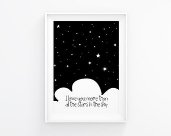 Gender neutral Nursery art, I love you more than all the stars, Nursery Printable, Nursery wall art, Back and white, Modern nursery, 8x10