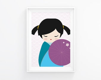Nursery print, Little Geisha, nursery decor, nursery art, kids wall art, instant download, baby nursery art, kids art, kids room decor